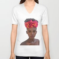 goddess V-neck T-shirts featuring Goddess by Grace Teaney Art