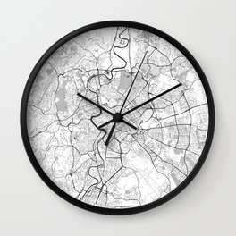Rome City Map Gray Wall Clock