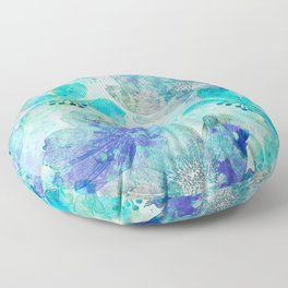 blue turquoise mixed media flower illustration Floor Pillow