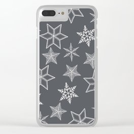 Simple Snowflakes On Grey Background Clear iPhone Case