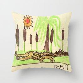 Crocodile Swamp Throw Pillow