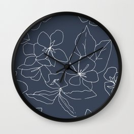 Flowers in Bloom, Drawing in Blue Wall Clock