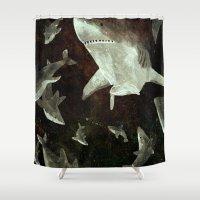 sharks Shower Curtains featuring sharks by Lara Paulussen
