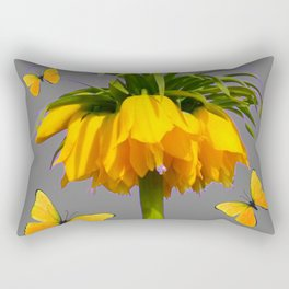 BUTTERFLIES YELLOW CROWN IMPERIAL FLOWERS Rectangular Pillow