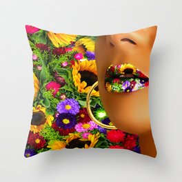 Lips multicolor flowers Throw Pillow