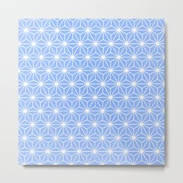 Cold Blue Geometric Flowers and Florals Isosceles Triangle Metal Print