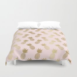 Pink & Gold Pineapples Duvet Cover
