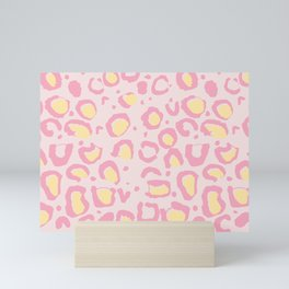 Leopard Skin Inspire Pattern Pink and Yellow Mini Art Print