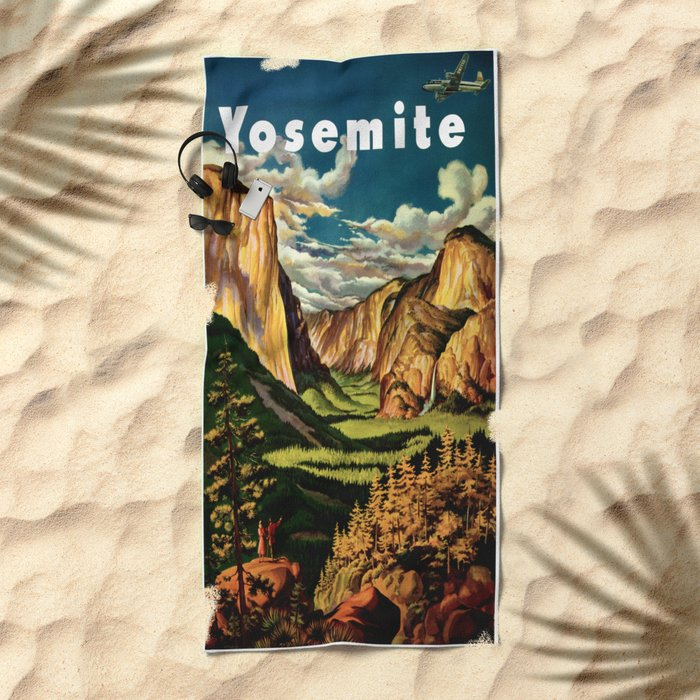 Yosemite National Park - Vintage Travel Beach Towel