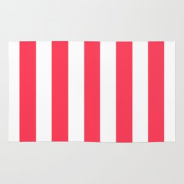 Sizzling Red pink - solid color - white vertical lines pattern Rug