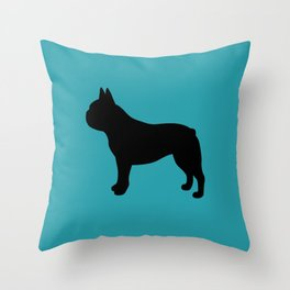 French Bulldog (Black/Teal) Throw Pillow