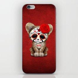 Red Day of the Dead Sugar Skull Cheetah Cub iPhone Skin