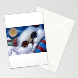 WHITE PERSIAN CAT with ODD EYES AT THE BEACH Stationery Cards