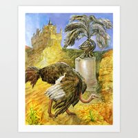 ostrich Art Prints featuring Ostrich by Natalie Berman