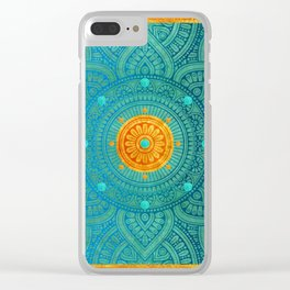 """Turquoise and Gold Mandala"" Clear iPhone Case"