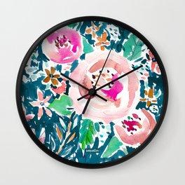 PLENITUDE FLORAL Navy Peach Watercolor Wall Clock