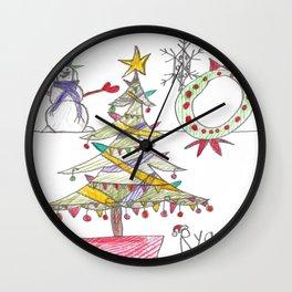 Festive Christmas Scene Wall Clock