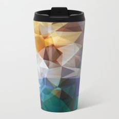 Abstract background of triangles polygon print. Bright design colors Metal Travel Mug