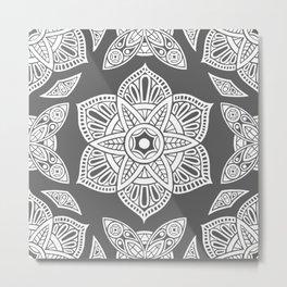 Floral Lotus Mandala Grey Metal Print