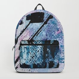 Breathe [4]: colorful abstract in black, blue, purple, gold and white Backpack