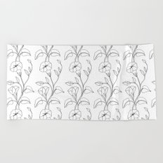 Floral Drawing in black and white Beach Towel