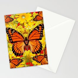 VICEROY BUTTERFLIES & YELLOW FLOWERS RED ART Stationery Cards