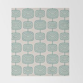 Mid Century Modern Atomic Rings Pattern Foam Green and beige 3 Throw Blanket