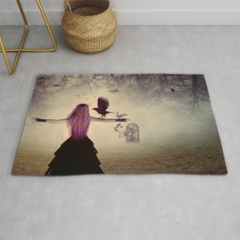 Dark foggy scene with witch woman with crows Rug