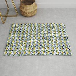 Mediterranean lemon and blue tiles pattern Rug