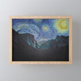 Vincent Van Gogh's Starry Night Over Yosemite National Park Framed Mini Art Print