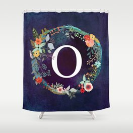 Personalized Monogram Initial Letter O Floral Wreath Artwork Shower Curtain