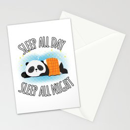 Sleep All Day Sleep All Night - Lazy Panda Stationery Cards