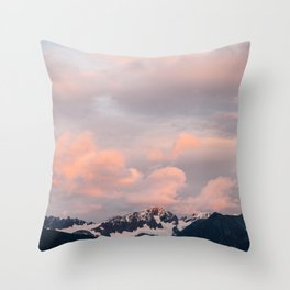 Alaskan Mountain Sunset (Pink) II Throw Pillow