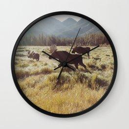 Three Meadow Moose Wall Clock