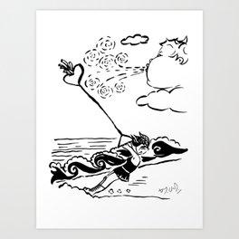 Flying heart Art Print