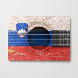 Old Vintage Acoustic Guitar with Slovenian Flag Metal Print
