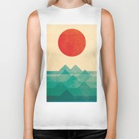 sea turtle Biker Tanks featuring The ocean, the sea, the wave by Picomodi