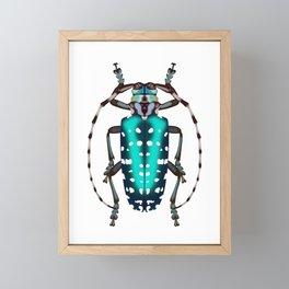 Turquoise Dot Beetle Framed Mini Art Print