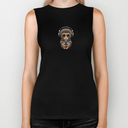 Cute Baby Monkey With Cell Phone Wearing Headphones Blue Biker Tank