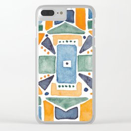 Geometric Watercolor Clear iPhone Case