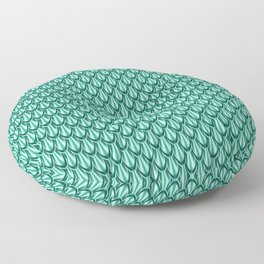 Gleaming Green Metal Scalloped Scale Pattern Floor Pillow