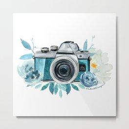 Blue Floral Camera Metal Print
