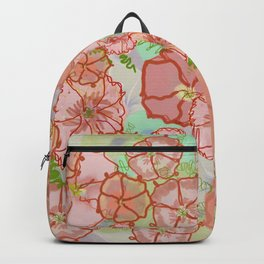 Fanciful Coral & Soft Peach Morning Glories Backpack