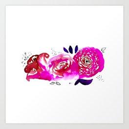 Three Purple Christchurch Roses Art Print