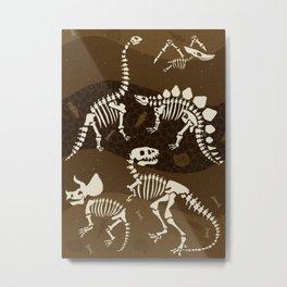Fossil Dinosaur Pattern Metal Print