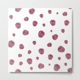 Pink & white raspberry watercolor pattern Metal Print