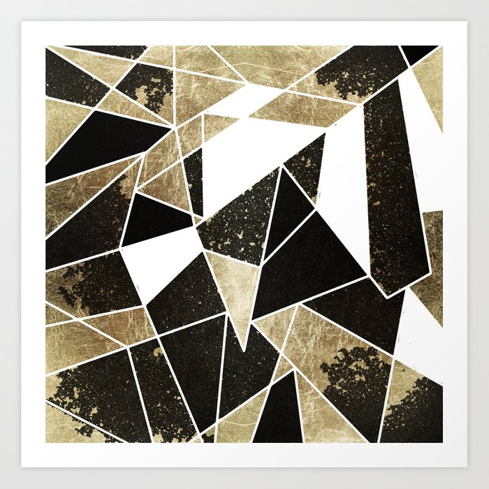 Modern rustic black white and faux gold geometric art print