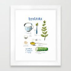 illustrated recipes: tzaziki Framed Art Print