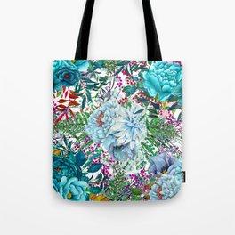 Teal Floral Collage Tote Bag