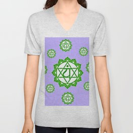 "This design is all about the ASTRAL PURPLE GREEN SANSKRIT CHAKRAS PSYCHIC WHEEL "" LOVE"" decor, furni Unisex V-Neck"